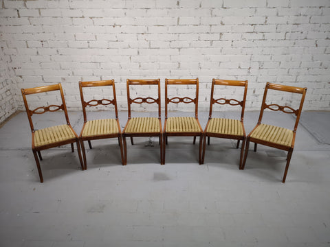 Gold Striped Velvet Set of 6 French Mid 20th-century Art Deco Dining Chairs