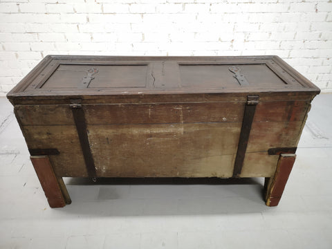 Antique Solid French Hand Carved Oak Treasure Chest Dowry Trunk Sideboard