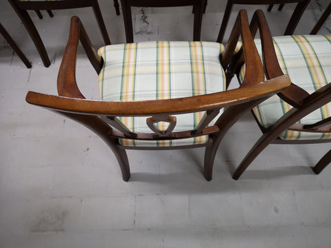 Set of 8 Vintage Italian Art Deco Oak Dining Chairs