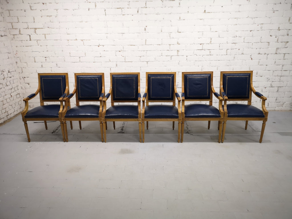Swiss Private Bank Boardroom Set of 6 French Louis XVI Style Square Back Vintage Blue Leather Armchairs
