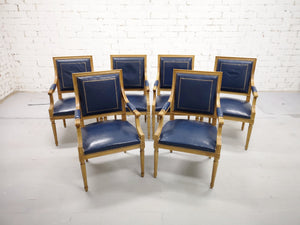 Set of 6 French Louis XVI Style Square Back Vintage Blue Leather Armchairs