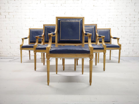 Image of Set of 6 French Louis XVI Style Square Back Vintage Blue Leather Armchairs