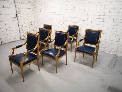 Image of Swiss Private Bank Boardroom Set of 6 French Louis XVI Style Square Back Vintage Blue Leather Armchairs