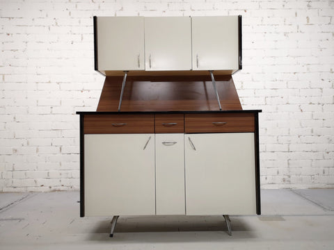 Image of 1970s Vintage Mid-Century Modern Danish Two Tone Kitchen Cabinet