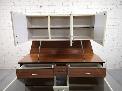 Rare 1970s Vintage Mid-Century Modern Danish Two Tone Kitchen Cabinet