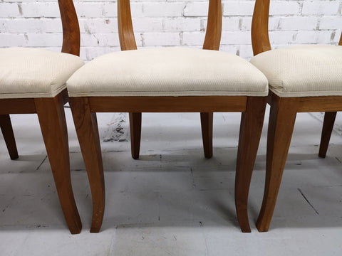 Set of 6 French Oak Early 20th-century Reupholstered White Art Deco Dining Chairs