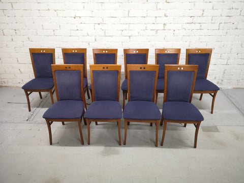 Image of Set of 10 Vintage Mid-Century Modern Dutch Navy Blue Velvet Dining Chairs