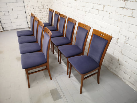 Image of Set of 10 Vintage Modern Dutch Navy Blue Alcantara Velvet Dining Chairs Perfect Condition