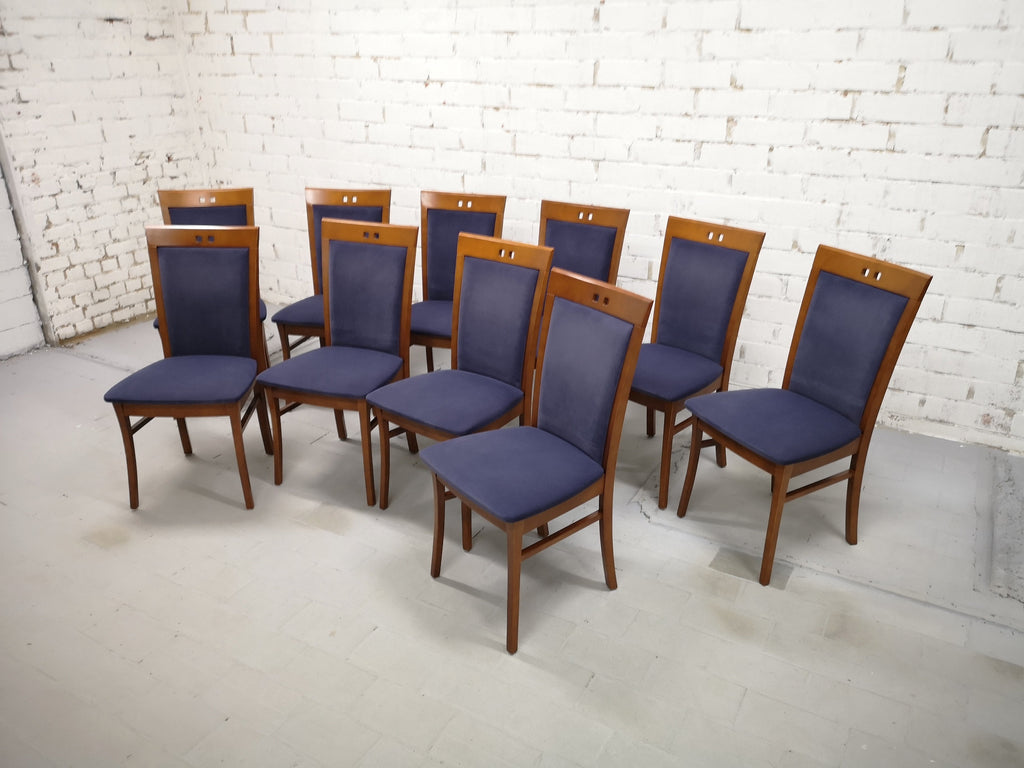 Set of 10 Vintage Modern Dutch Navy Blue Alcantara Velvet Dining Chairs Perfect Condition