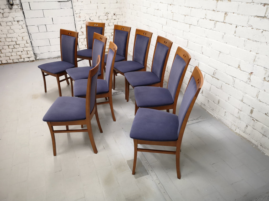 Set of 10 Vintage Mid-Century Modern Dutch Navy Blue Velvet Dining Chairs