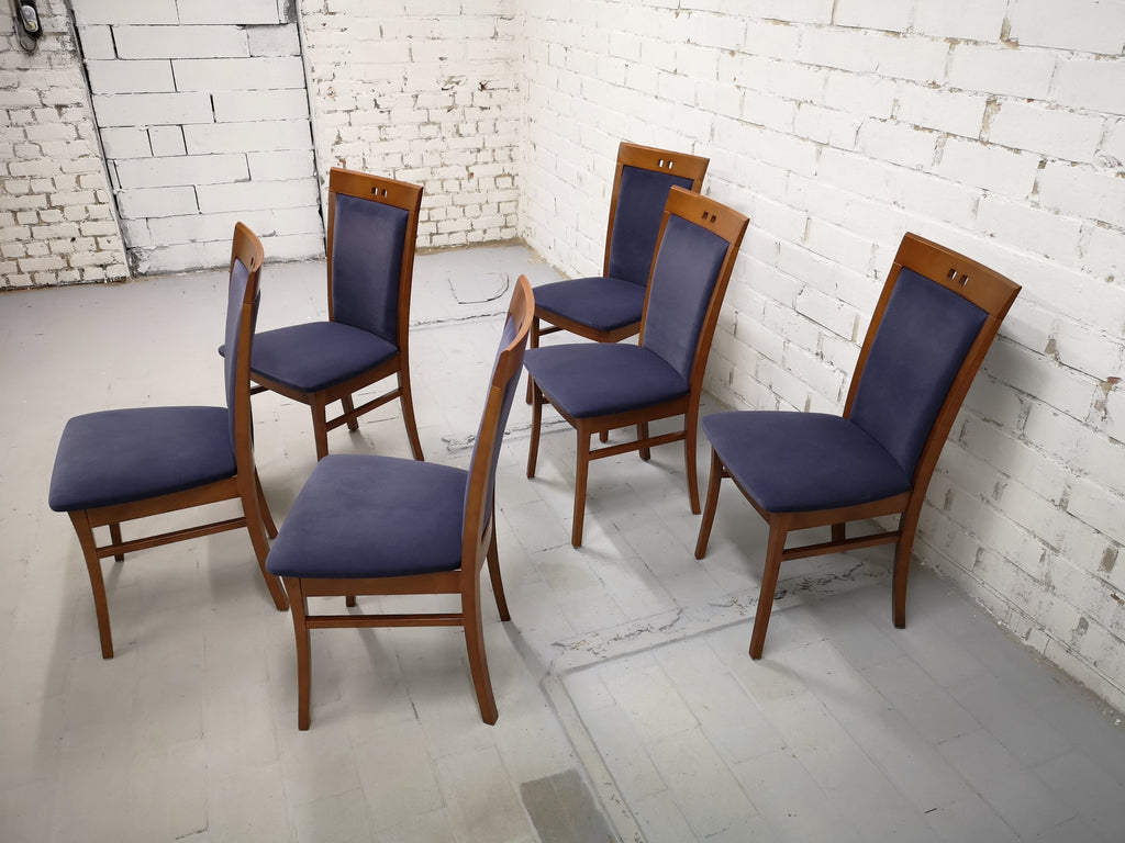 Set of 6 Vintage Modern Dutch Navy Blue Alcantara Velvet Dining Chairs Perfect Condition