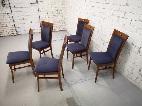 Image of Set of 6 Vintage Modern Dutch Navy Blue Alcantara Velvet Dining Chairs Perfect Condition