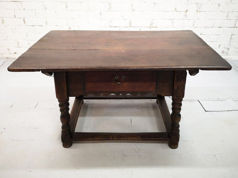 Very Rare 18 century Antique French Small Petite Oak Kitchen Table with Drawer