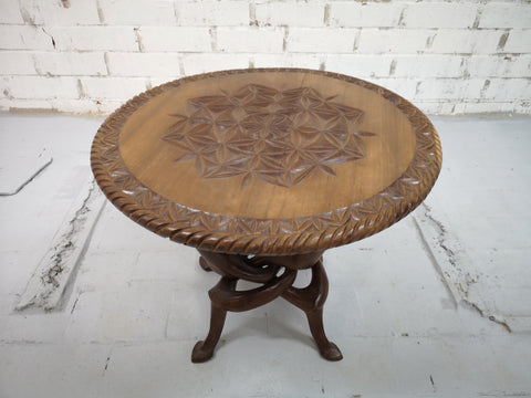 Unique Hand Carved Vintage Bali Style Round Coffee Table