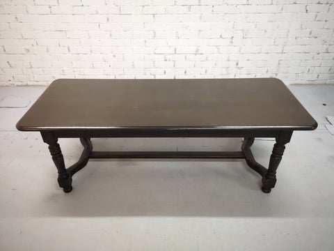 Elegant Vintage French H-stretcher Farmhouse Dining Table