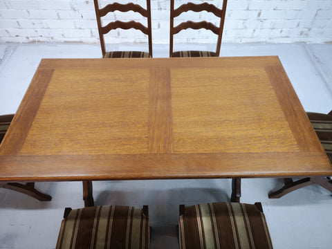 Image of Italian Vintage Dining Table and 6 Ladder Back Dining Chairs 1970s