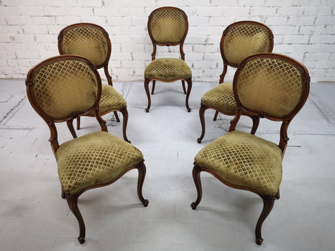 Set of 5 Vintage French Louis XV Style Carved Oak Balloon Back Dining Side Chairs