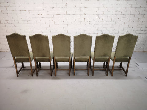 Gorgeous Set of 6 French Vintage Arch-Top High Back Dining Chairs