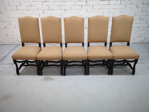 Set of 5 French Vintage Arch-Top High Back Oak Dining Chairs