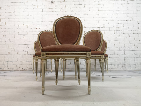 Set of 6 French Louis XVI Style Vintage Medallion Old Rose Velvet Dining Chairs