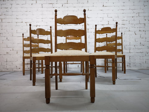 Set of 6 French Vintage Provincial Style Ladder Back Oak Dining Chairs