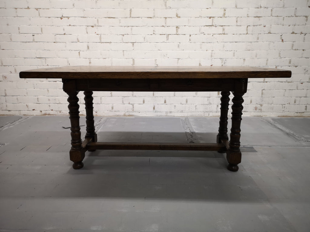 Unique Solid Oak Alpine Vintage Swiss Folding Small Dining Table Console