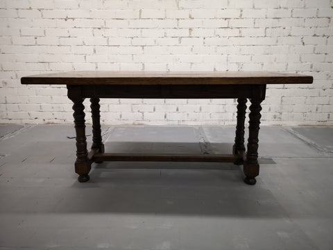 Image of Unique Solid Oak Alpine Vintage Swiss Folding Small Dining Table Console