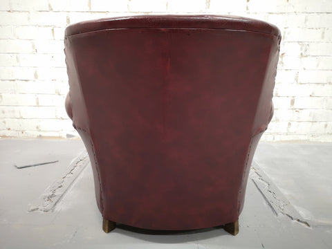 Image of Set of 4 Rare Vintage Mid-Century Modern Burgundy Club Lounge Chairs