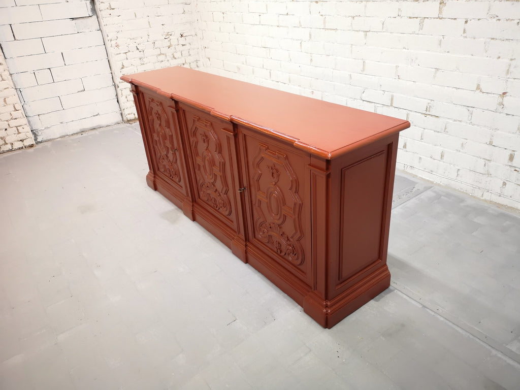 Early 20th C. French Shabby Chic Brick Red Country Sideboard Kitchen Buffet