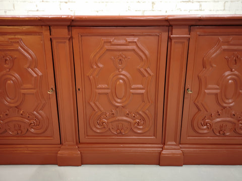 Image of Early 20th C. French Brick Red Country Sideboard Kitchen Buffet Shabby Chic