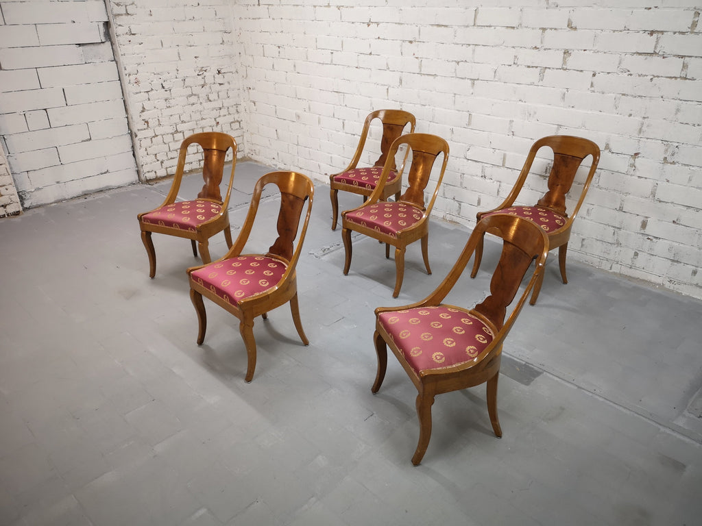 Set of 6 French 1940s Vintage Art Deco Gondola Dining Chairs