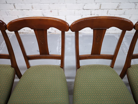 Image of Set of 6 French Mid 20th-century Neoclassical Style Olive Green Dining Chairs