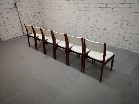 Image of Set of 6 Restored Mid Century Modern White Danish Dining Chairs