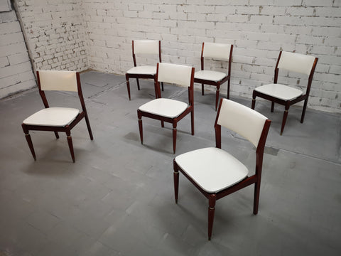 Set of 6 Restored Mid Century Modern White Danish Dining Chairs