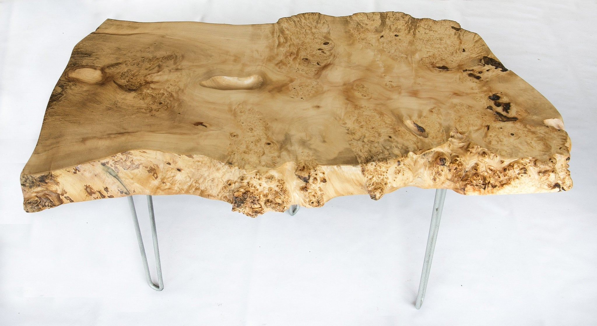 Burl Slab Coffee Table on Hairpin Legs