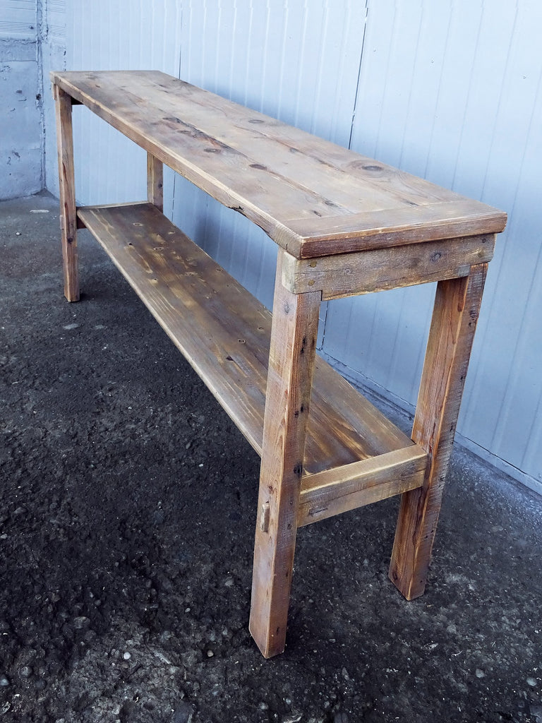 Cottage Sofa Table Natural Color Reclaimed Wood Rustic Pine