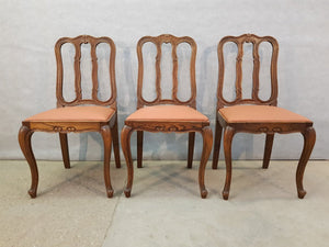 Set Of Three Traditional Louis XV Style Reupholstered French Provincial Oak Dining Side Chairs