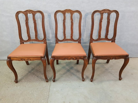 Set Of Three Traditional Reupholstered French Provincial Oak Dining Chairs Louis XV