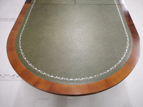 Vintage Oval Library Style Extending Dining Table w Green Faux Leather Top