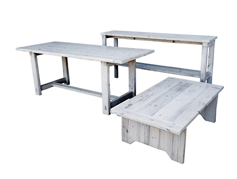 Image of Whitewashed Reclaimed Pine Wood Furniture Set Dining Table Coffee Table Console Table