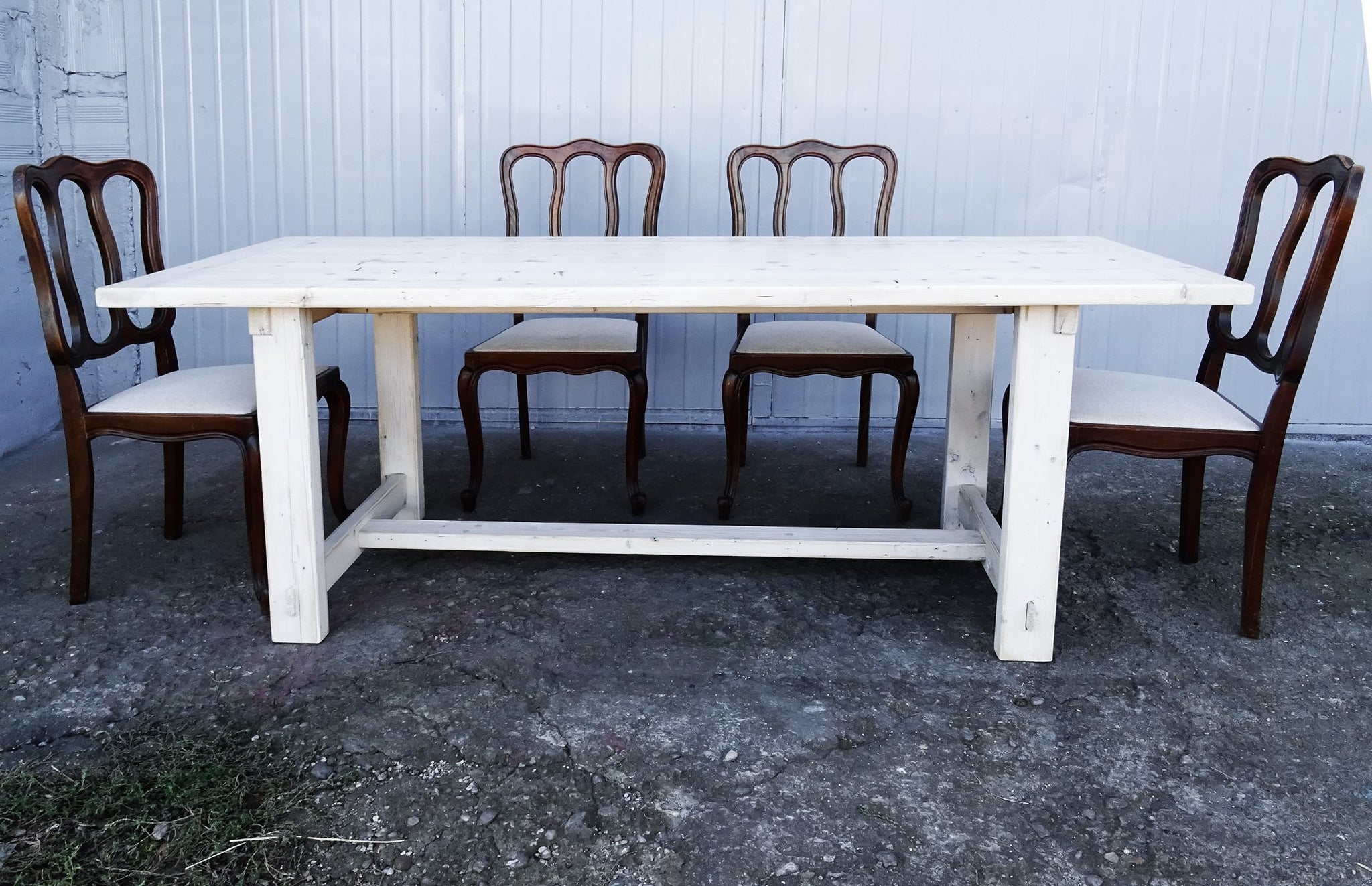... Whitewashed Reclaimed Pine Wood Furniture Set Dining Table Coffee Table  Console Table ...