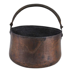 Antique Hand-hammered Copper Pot Cauldron Kettle