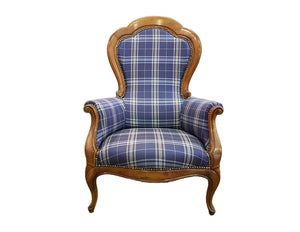 French 19th century Antique Louis XV Large Carved Cherry Wood Armchair Newly Upholstered