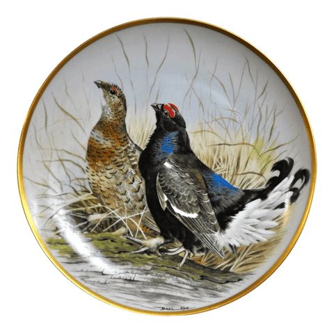 Image of Franklin Limoges Porcelain Wall Plate Gamebirds Motif Limited Edition 1979 France Black Grouse