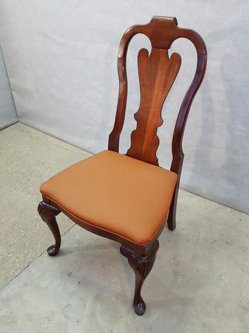 One French Antique Chippendale Copper Color Upholstery Accent Side Dining Oak Chair