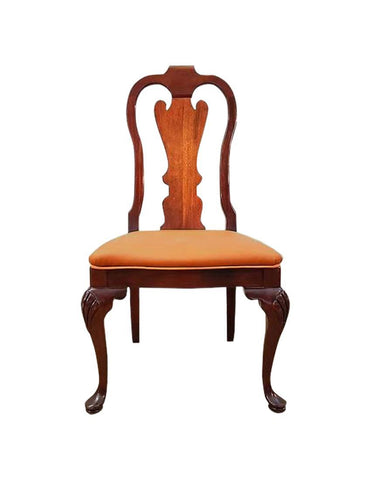 Image of One French Antique Chippendale Copper Color Upholstery Accent Side Dining Oak Chair