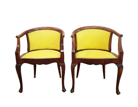 Pair of French Louis XV Style Walnut Barrel Back Yellow Newly Upholstered Boudoir Chairs