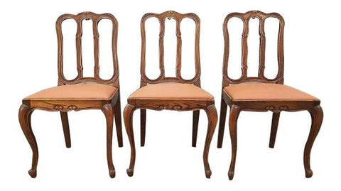 Image of Set Of Three Traditional Reupholstered French Provincial Oak Dining Chairs Louis XV