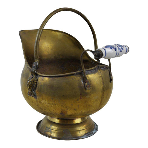 Vintage Brass Helmet Coal Scuttle Pedestal Pot Planter Display