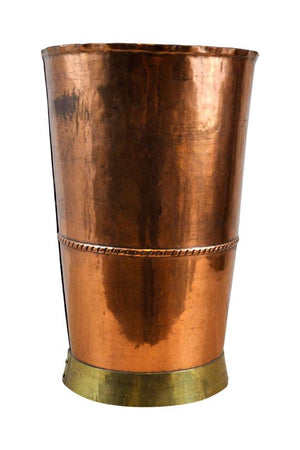 Antique Handcrafted Copper Drinking Glass with Brass Base